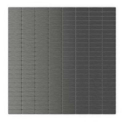 Urbain 11.44 in. x 11.63 in. Self-Adhesive Decorative Wall Tile in Dark Grey (24-Pack)