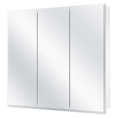 30-3/8 in. W x 30-3/16 in. H Frameless Surface-Mount Tri-View Bathroom Medicine Cabinet