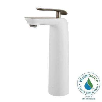 Seda Single Hole Single-Handle Vessel Bathroom Faucet in Brushed Nickel and White