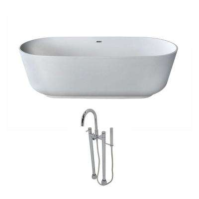 Sabbia 5.9 ft. Man-Made Stone Classic Flatbottom Non-Whirlpool Bathtub in Matte White and Sol Faucet in Chrome