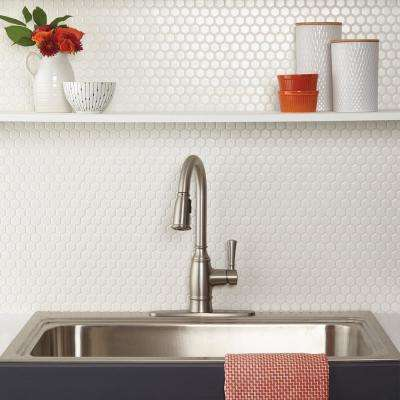 Premier Accents Powder White Hexagon 10 in. x 12 in. x 4 mm Porcelain Mosaic Floor and Wall Tile (0.84 sq. ft. / piece)