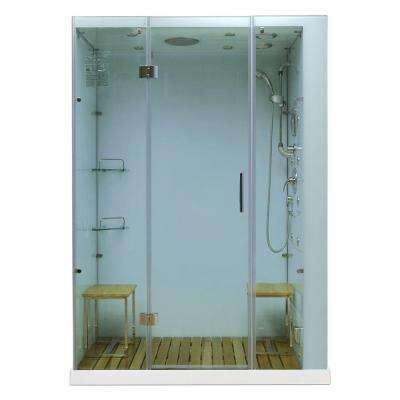 Orion 59 in. x 32 in. x 86 in. Steam Shower Enclosure in White