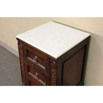 Wright 20 in. W x 34 in. H x 19 in. D Side Chest Cabinet with Marble Top in Medium Walnut
