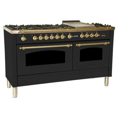 60 in. 6 cu. ft. Double Oven Dual Fuel Italian Range True Convection, 8 Burners, Griddle, Brass Trim in Matte Graphite