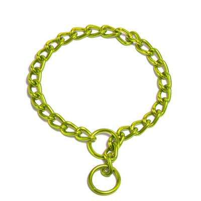 22 in. x 4 mm Coated Steel Chain Training Collar in Lime