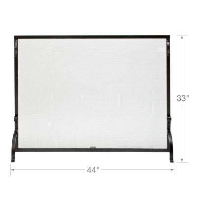 Black Wrought Iron 44 in. W Single-Panel Sparkguard Fireplace Screen with Carry Handles and Heavy Guage Mesh