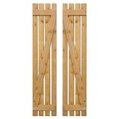 15 in. x 75 in. Baton Spaced Z Board and Batten Shutters (Natural Cedar) Pair
