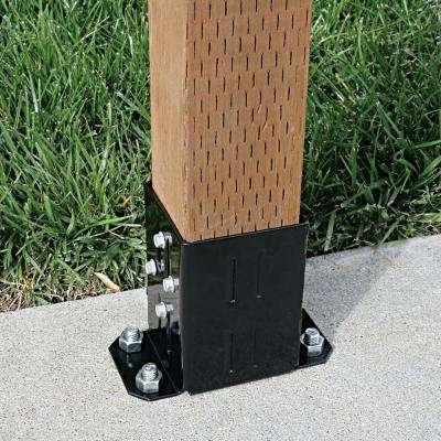 E-Z Base Black Powder-Coated Post Base for 4x4 Nominal Lumber