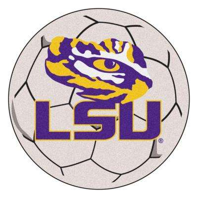 NCAA Louisiana State University Cream 2 ft. 3 in. x 2 ft. 3 in. Round Accent Rug