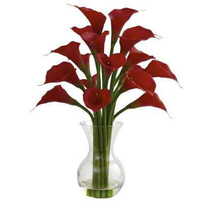 Galla Calla Lily with Vase Arrangement in Red