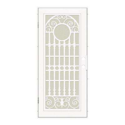 32 in. x 80 in. Spaniard White Left-Hand Surface Mount Aluminum Security Door with Beige Perforated Metal Screen