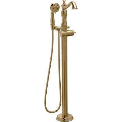 Cassidy 1-Handle Floor-Mount Roman Tub Faucet Trim Kit with HandShower in Champagne Bronze (Valve & Handle Not Included)