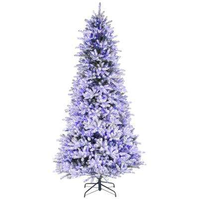 9 ft. Pre-Lit Led Flocked Balsam WRGB Artificial Christmas Tree