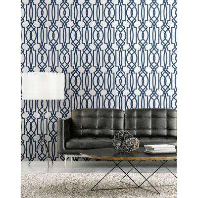 Navy Deco Lattice Peel and Stick Wallpaper