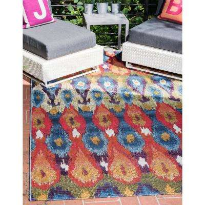 Outdoor Ikat Multi 5' 3 x 8' 0 Area Rug