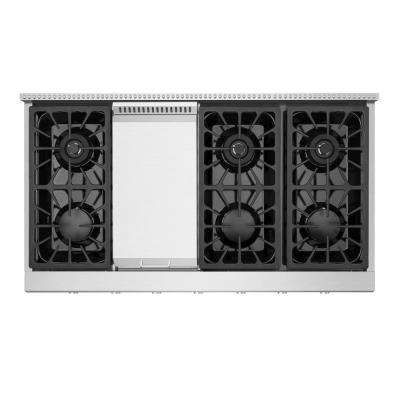 48 in. Gas Cooktop in Stainless Steel with 6 Burners including Power Burners with Griddle