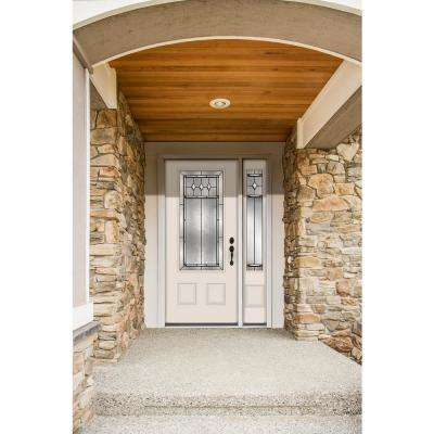 52 in. x 80 in. 3/4 Lite Mission Prairie Primed Steel Prehung Left-Hand Inswing Front Door with Right-Hand Sidelite