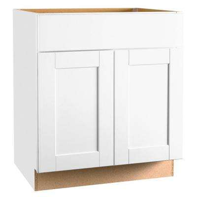 Hampton Bay Shaker Assembled 30x34.5x24 inch Base Kitchen Cabinet with Ball-Bearing Drawer Glides in Satin White
