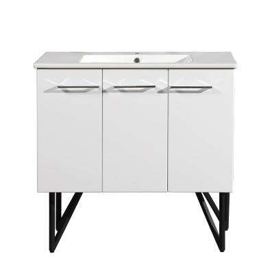 Annecy 36 in. Single, 2-Door, 1 Drawer Bathroom Vanity in White with White Basin