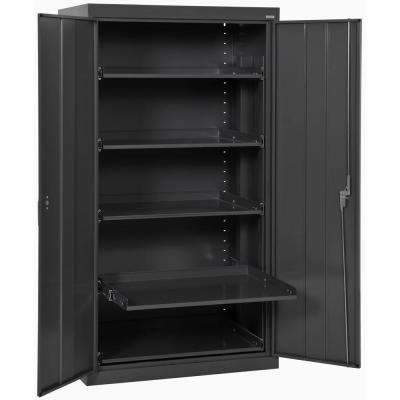 66 in. H x 36 in. W x 24 in. D 5-Shelf Heavy Duty Steel Freestanding Storage Cabinet with Pull-Out Tray in Black