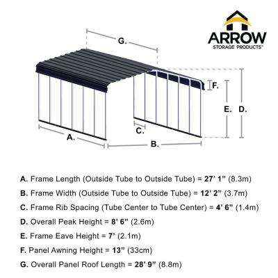 12 ft. W x 29 ft. D Eggshell Galvanized Steel Carport, Car Canopy and Shelter