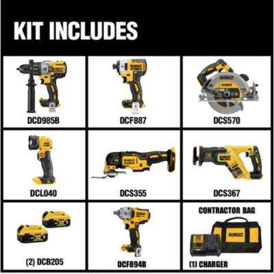 20-Volt MAX XR Lithium-Ion Brushless Cordless Combo Kit (6-Tool), (2) 5Ah Batteries, Charger, Bag, Free Impact Wrench