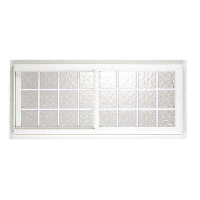 39.50 in. x 39.625 in. Glacier Pattern 6 in. Acrylic Block Tan Vinyl Fin Slider Window, Silicone & Screen-DISCONTINUED