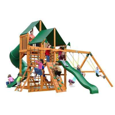 Great Skye I with Amber Posts and Sunbrella Canvas Forest Green Canopy Cedar Playset