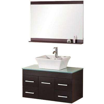 Madrid 36 in. W x 20 in. D Vanity in Espresso with Glass Vanity Top and Mirror in Mint