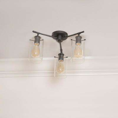 Brooklyn Collection 3-Light Black Semi-Flush mount with Clear Glass Shades
