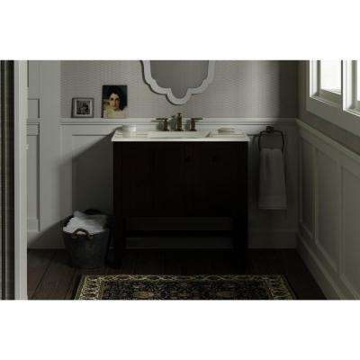 Tresham 36 in. W Vanity in Woodland with Vitreous China Vanity Top in Dark Brown with White Impressions Basin