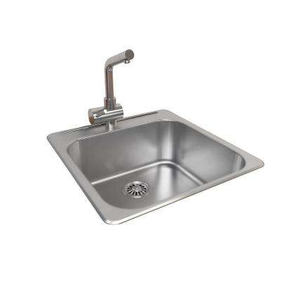 All-in-One Top Mount Stainless Steel 20.5 in. 1-Hole Single Bowl Kitchen Sink