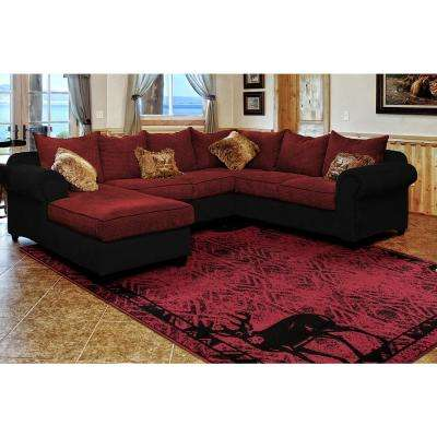 Woodside Deer Gaze Red 2 ft. x 7 ft. Area Rug
