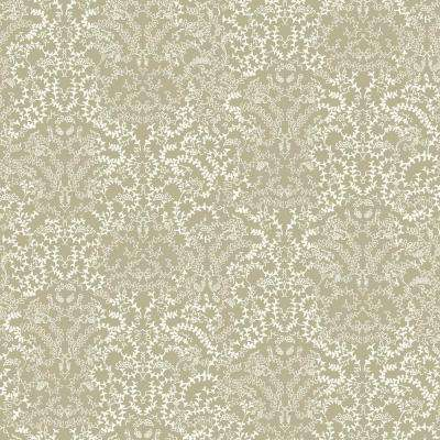 56 sq. ft. Metallic Pewter and White Modern Lace Damask Effect Wallpaper