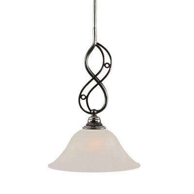 1-Light Black Copper Pendant with White Marble Glass