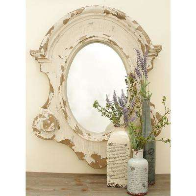 43 in. x 35 in. Scalloped Shabby Chic Framed Wall Mirror