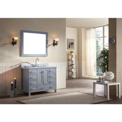 Cambridge 43 in. Bath Vanity in Gray with Marble Vanity Top in Carrara White with White Basin