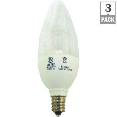 25W Equivalent Soft White B11 Clear Blunt Tip Decorative LED Light Bulb (3-Pack)