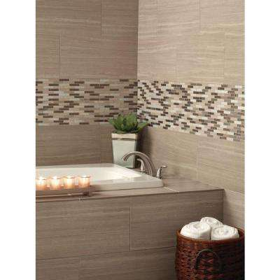 Diamante Brick 12 in. x 12 in. x 8 mm Glass Stone Mesh-Mounted Mosaic Tile
