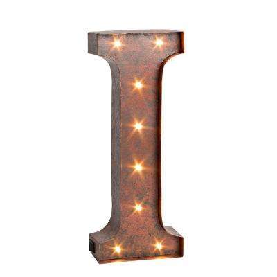 "12 in. H ""I"" Rustic Brown Metal LED Lighted Letter"
