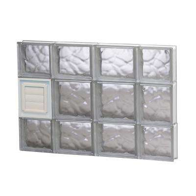 27 in. x 19.25 in. x 3.125 in. Wave Pattern Glass Block Window with Dryer Vent