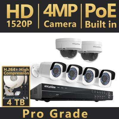 8-Channel 4MP Full HD 4TB IP NVR System (4) 2688x1520P Bullet, (2) Dome Cameras, 100 ft. NightVision, Free RemoteViewing