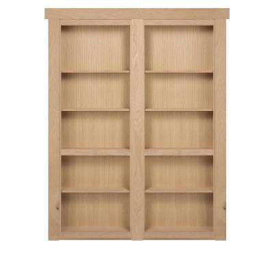 48 in. x 80 in. Flush Mount Assembled Oak Unfinished In-Swing Solid Core Interior French Bookcase Door