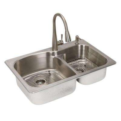 All-in-One Dual Mount Stainless Steel 33 in. 2-Hole Double Basin Kitchen Sink