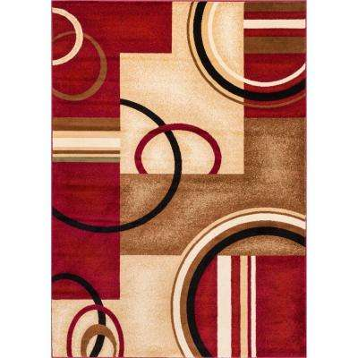 Barclay Arcs and Shapes Red 7 ft. 10 in. x 9 ft. 10 in. Modern Geometric Area Rug