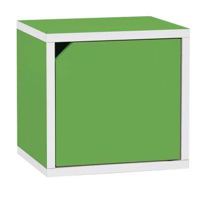 Connect System 11.2 x 13.4 x 13.4 zBoard Paperboard Stackable Storage Cube Organizer Unit with Door in Green