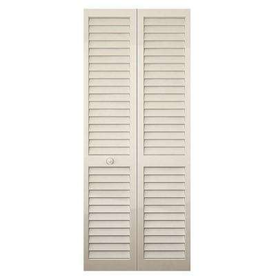 24 In Plantation Louvered Solid Core Painted Wood Interior Closet Bi Fold Door