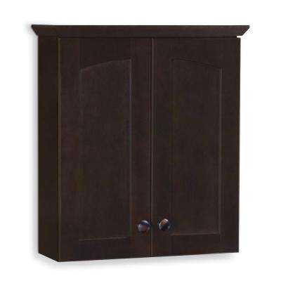 Melborn 19 in. W x 21-7/10 in. H x 7 in. D Bathroom Storage Wall Cabinet in Java