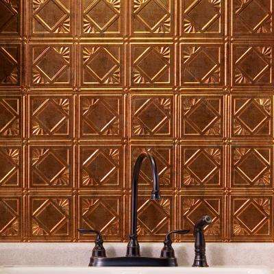 24 in. x 18 in. Traditional 4 PVC Decorative Backsplash Panel in Muted Gold