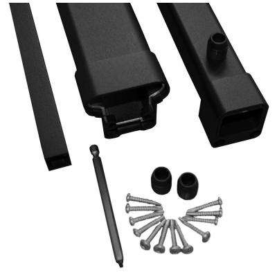 Pro 8 ft. Black Aluminum Fixed Angle Stair Hand Rail and Bottom Rail Kit